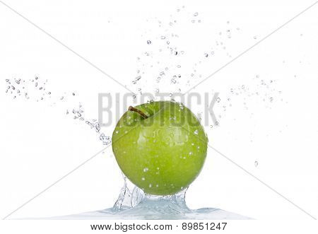 Fresh green apple in water splash isolated on white background