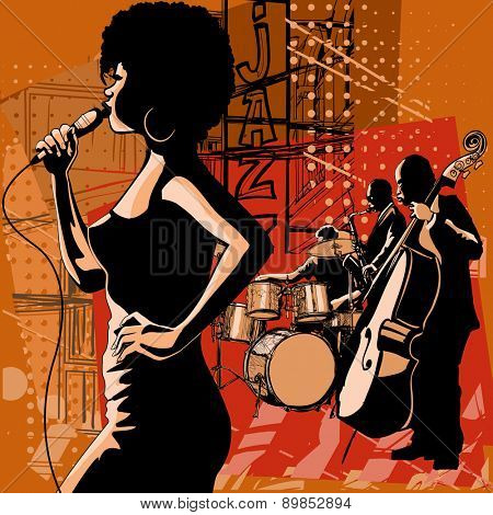 Jazz singer with saxophonist and double-bass player - Vector illustration