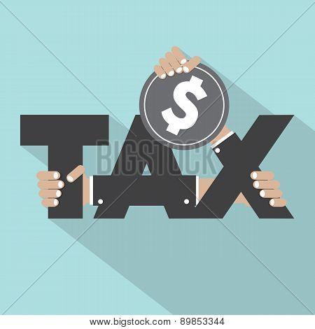 Tax Typography With Money Design.