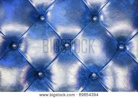 Blue Leather Upholstery Sofa Background For Decoration.