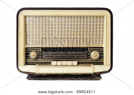 closeup of an old radio receptor on a white background