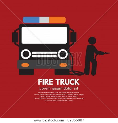 Fire Truck With A Man.
