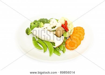 Mix Colorful Vegetables And Herb On White Background