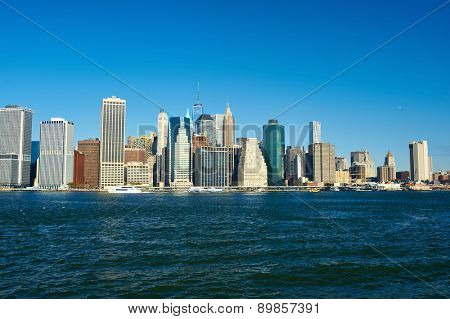 Lower Manhattan skyline view from Brooklyn in New York City