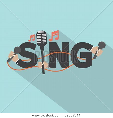 Sing Typography With Microphones Design.