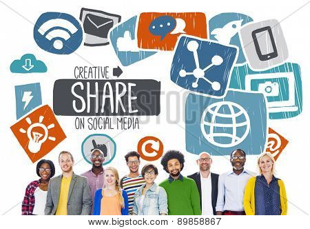 Share Sharing Social Media Networking Online Download Concept