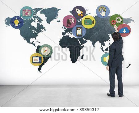 Global Media Social Media International Connection Concept