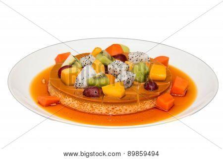 Deliciuos Caramel Custard Close Shot With Fresh Fruit.