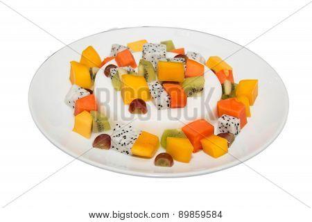 Milk Pudding Dessert With Fruit Salad.