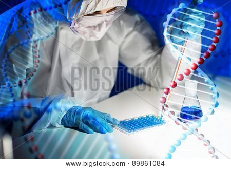 science, chemistry, biology, medicine and people concept - close up of young female scientist with pipette and flask making test or research in clinical laboratory over dna molecule structure