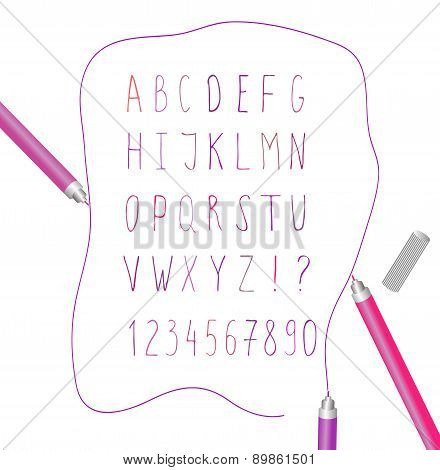 English Alphabet And Numbers Written By Hand Casually Felt-tip Pen For Design