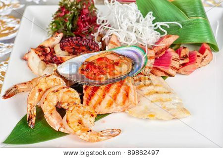 Assortment of seafood mix dish