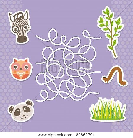 Zebra Panda Owl  Labyrinth Game For Preschool Children. Vector