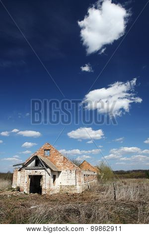 The Ruins Of A Long Brick Building