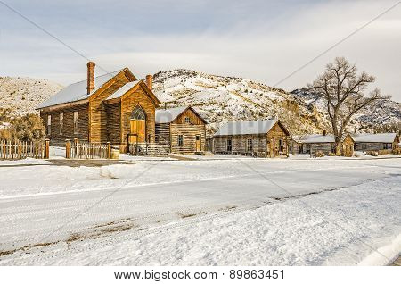 Preserved Church And Houses In A Ghost Town
