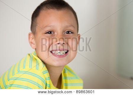Boy Brushing His Teeth.