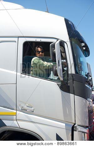 Truck driver in cabin