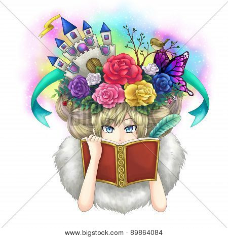 Illustration Of A Girl Writing Fantasy Novel Book While Her Imagination Growing On Her Head Or Maybe