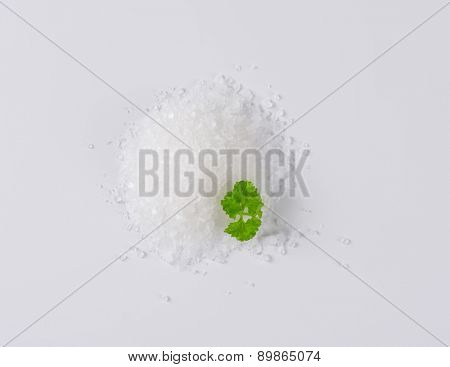 heap of crystal sea salt with piece of parsley