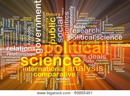 Background text pattern concept wordcloud illustration of political science glowing light