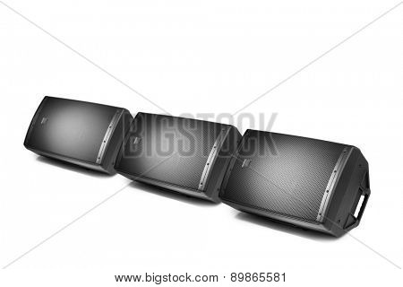 floor audio speaker monitors, isolated on white