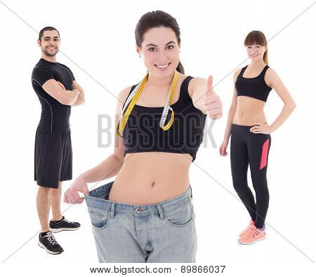 Weight Loss Concept - Young Woman After Diet With Her Trainers Isolated On White