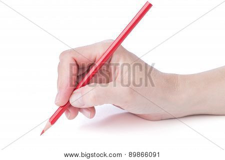 Female Hand With A Red Pencil