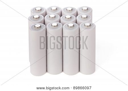 Aa Batteries Stand In A Row