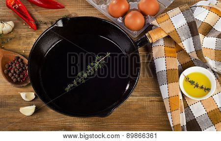 Ingredients For A Breakfast And Iron Skillet.