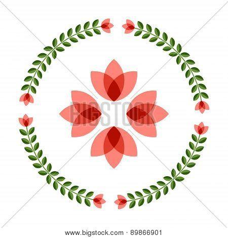 Design Elements - Round Floral Frame And Scandinavian Flower