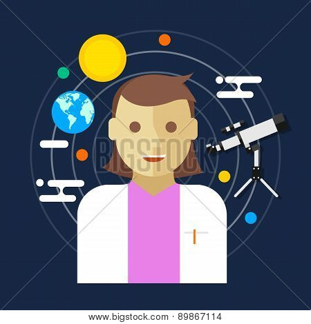 astronomer space science women vector illustration