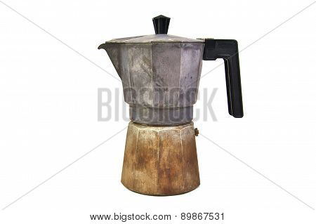 Old, used and rusty italian coffee maker isolated on a white background