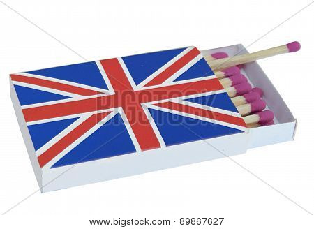 matchbox with image of the British flag