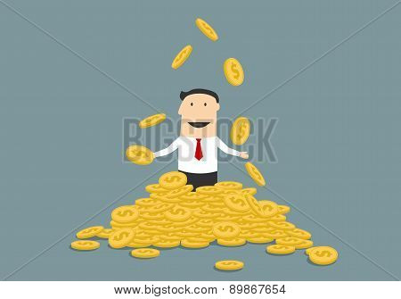 Successful businessman juggling his money coins