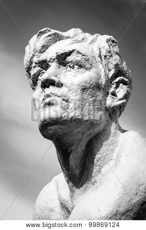 Stone Human Statue Head