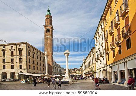 Torre Di Piazza At The Piazza Dei Signor In Vicenca, Town Of Palladio