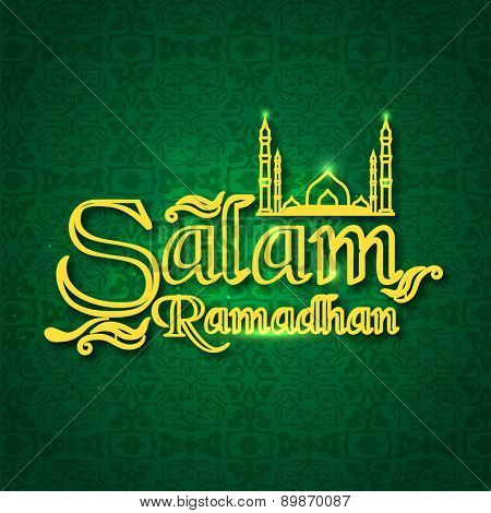Stylish text Salam Ramadan with mosque on shiny green background for Muslim community festival celebration.