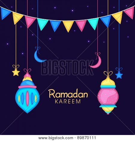 Holy month of muslim community, Ramadan Kareem celebration greeting card with colorful hanging lamps, moon or stars on blue background.