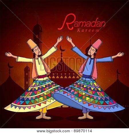 Holy month of muslim community, Ramadan Kareem celebration with illustration of dervish on islamic mosque night background.