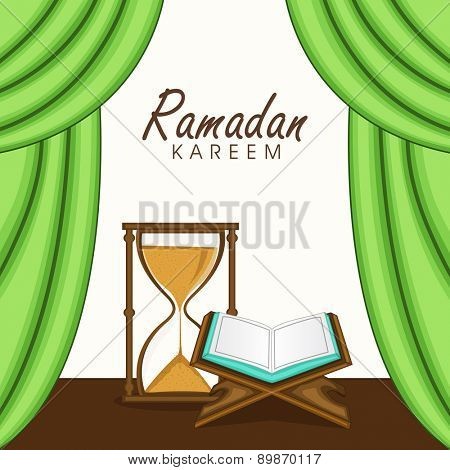 Open holy islamic book Quran Shareef with send clock for holy month of muslim community, Ramadan Kareem celebration.