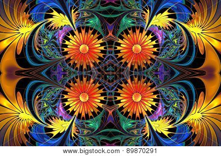 Flower Pattern In Fractal Design. Yellow And Blue Palette. On Black. Computer Generated Graphics.