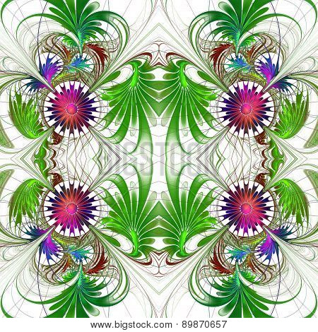 Flower Pattern In Fractal Design. Purple And Green Palette. On White. Computer Generated Graphics.