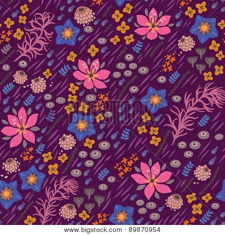 Floral seamless pattern. Bright illustration, can be used for creating card, wedding invitation, wal