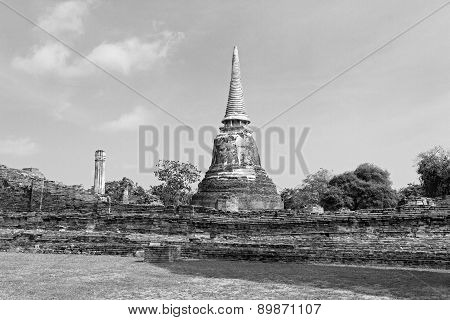 Black And Withe Ancient Pagoda