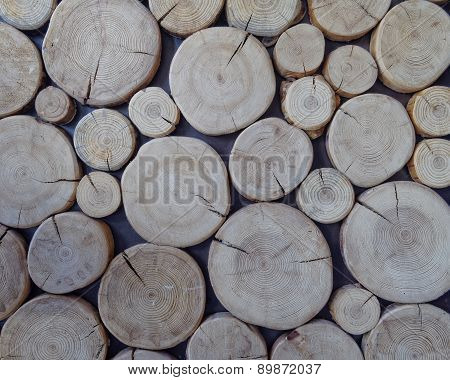 cut logs close up, wood texture