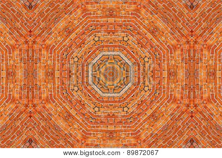 Brick Wall Kaleidoscopic Pattern