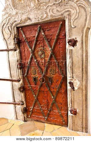 Door In Famous Cloister Of Andechs From Inside
