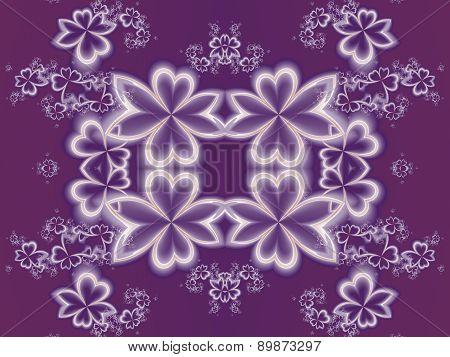 Flower Pattern In Fractal Design. Purple Palette. Artwork For Creative Design, Art And Entertainment