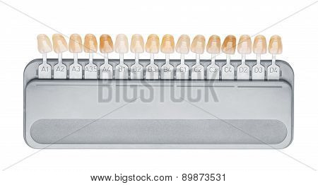 Close-up of palette for tooth color, color matching, Choice of color of a dental artificial limb and