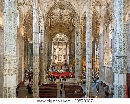 Church Santa Maria In The Beautiful Jeronimos Monastery In Lisbon